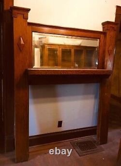 Oak Mission Fireplace Mantle