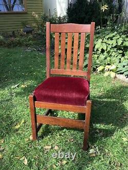 Original L & J G Stickley Oak and Mohair Dining Side Chair Mission Arts & Crafts