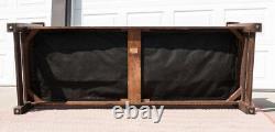 Original Vintage Lifetime Furniture Oak and Leather Slat Back Settle
