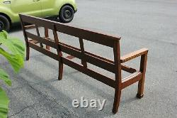 Padded Arts and Crafts Tiger Oak Mission Long Bench/Pew
