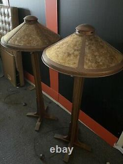 Pair Of 90s Mission Style Floor Lamps w Copper & Mica Shades Arts & Crafts