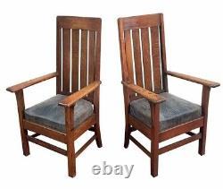 Pair Of Antique Arts & Crafts Mission Oak Library / Billiards Arm Chairs Fine