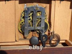 Pequegnat Pantheon Shelf Mantle Clock Original Oak Finish Painted Dial Canada