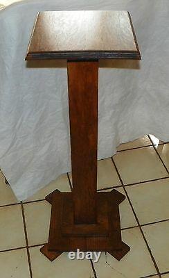 Quartersawn Oak Mission Pedestal Plant Stand (PS152)