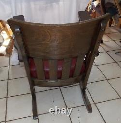 Quartersawn Oak Mission Rocker / Rocking Chair with burgundy leather (R250)