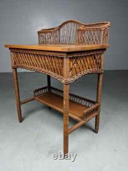 RARE Heywood-Wakefield American Mission Natural Wicker/Golden Oak Ladies Desk