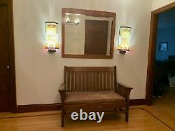 REDUCEDANTIQUE oak Mission- Arts and Crafts Style- BENCH with Leather Cushion