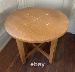 Reissue 2000 Stickley Mission Harvey Ellis inlay white oak lamp coffee table 24