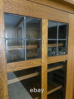 STICKLEY 2 Glass Door Oak Mission Bookcase Curio Cabinet 8 Shelves Arts & Crafts