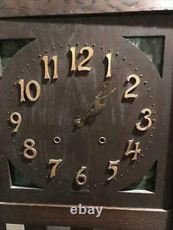 Sessions Arts And Crafts Mission Style Oak Long Case Pendulum Grandfather Clock