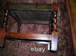 Signed antique quartersawn oak arts and craft mission foot stool table