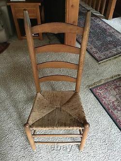 Six Oak Antique Vintage Shaker Cane Chairs Ladder Back Mission Primitive