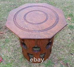 Solid Oak Octagon Arts and Crafts Mission Stickley Style Tabouret Table (T294)