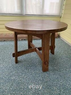 Stickley 42 Inches Round Mission Oak Library Table Excellent Condition