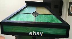 Stickley Handel Era Mission Oak Floor Lamp withSlag Glass Shade