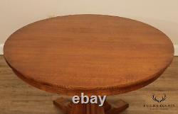 Stickley Mission Collection Oak 46 Inch Round Dining Table, 2 Leaves