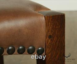Stickley Mission Collection Oak & Brown Leather Eastwood Footstool Ottoman
