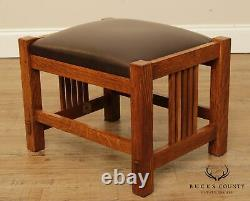 Stickley Mission Collection Oak Brown Leather Footstool