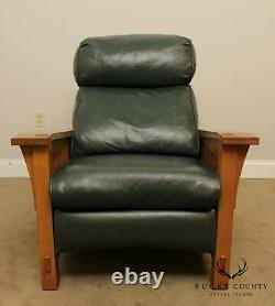 Stickley Mission Collection Oak Green Leather Spindle Morris Recliner