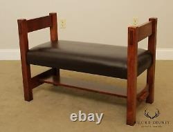 Stickley Mission Collection Oak Leather Seat Bench (B)