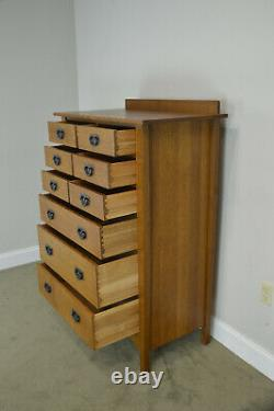 Stickley Mission Collection Oak Nine Drawer Harvey Ellis Tall Chest (ACD)