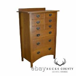 Stickley Mission Collection Oak Nine Drawer Harvey Ellis Tall Chest (XYZ)