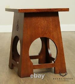 Stickley Mission Collection Oak Roycraft Taboret Side Table (A)