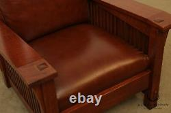 Stickley Mission Collection Oak Spindle Morris Chair, Brown Leather