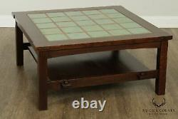 Stickley Mission Collection Oak Tile Top Coctail, Coffee Table