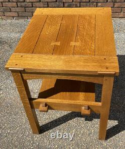 Stickley Mission Oak Butterfly Top End Table Signed