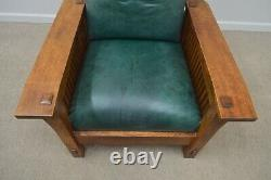 Stickley Oak Mission Morris Chair with Ottoman (B)