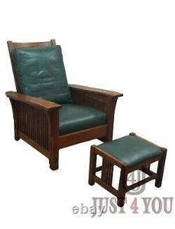 Stickley Oak Mission Morris Chair with Ottoman (C)