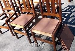Stickley Set of 6 Antique Mission Oak Arts & Crafts Dining Room Chairs with Labels