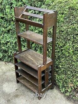 Tall Antique Arts & Crafts Mission Oak Book Shelf Case Library Stand