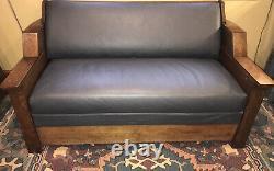 VTG Antique SENG Mission Oak & Leather Davenport Sleeper Sofa Hide-a-bed Couch