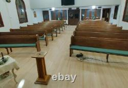 Vintage 10 Solid Oak Mission Style Church Pew With padding Livingston Montana
