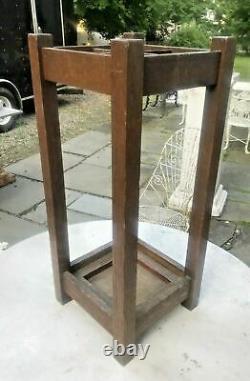Vintage Antique Mission Oak Arts & Crafts Umbrella Stand