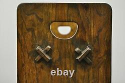 Vintage Arts & Crafts Mission Oak Wood Style D Handle Open Bookstand Bookshelf