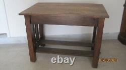 Vintage Arts & Crafts Mission Style Oak 31 X 42 Library Desk Table