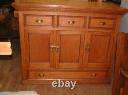 Vintage Bar Tiger Oak Mission Buffet Cabinet, Brass Hardware 52X43H X25 Gorgeous