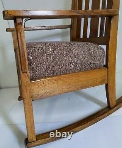 Vintage Mission Arts & Crafts Solid Oak Wood Rocking Chair Rocker + Cushion