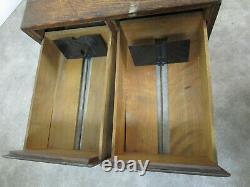 Vintage Mission Oak Wood Filing Cabinet of 2 Card Index Drawers Antique Library