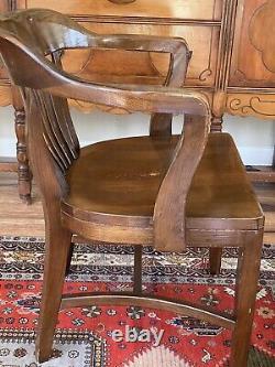 Vintage Mission Solid Oak Wood Banker/Office Arm Chair Antique Gunlocke Style