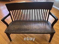 Vintage Oak Love Seat Rare Arts & Crafts Mission Quarter Sawn Seat LOS ANGELES