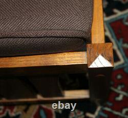 Vintage Stickley-Style Mission Oak Morris Bowed Arm Recliner Chair & Ottoman