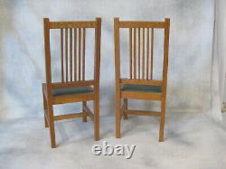 Vintage Stickley T. C. Timber Mission Oak Table & 2 Doll Side Chairs 1998 with COA