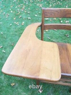 Vintage Tiger Oak Class Room Home School Arm Desk Chair