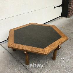 Vtg 48 Hexagon Brandt Ranch Oak Rustic Mission Craftsman Slate Top Coffee Table