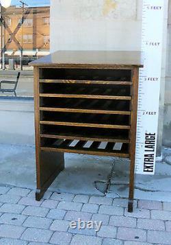 Wine Rack/ Bar-Antique Library Cabinet-Quarter Sawn Oak-Arts Crafts Mission-Deco